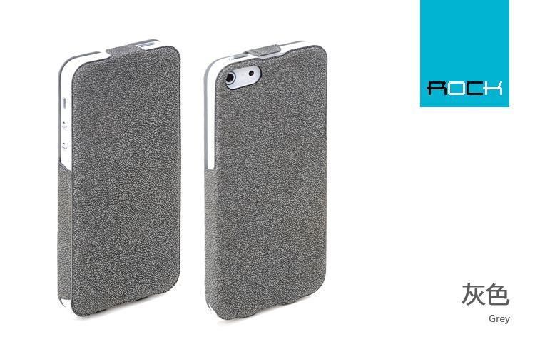 Flipové kožené púzdro ROCK Eternal Flip pre Apple iPhone 5 Grey ... e28522dda30