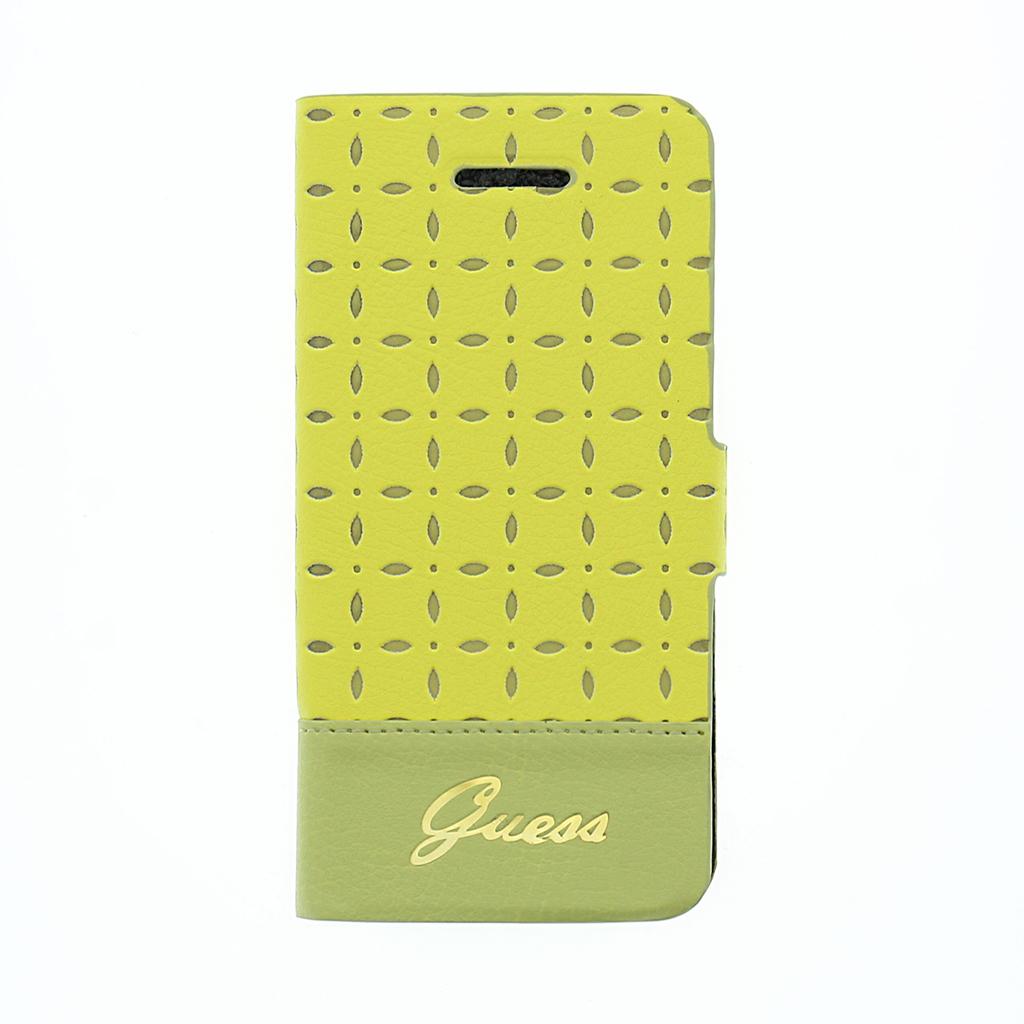 Kožené puzdro na mobil iPhone 5C Guess Gianina žlté - Flipová puzdra ... 52056db800c